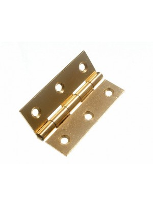 PAIR OF DOOR BUTT HINGES EB BRASS PLATED STEEL 63MM ( 2 1/2 inch )