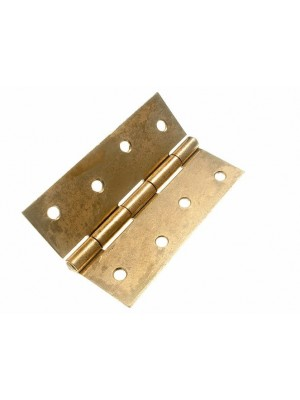 PAIR OF DOOR BUTT HINGES EB BRASS PLATED STEEL 100MM ( 4 inch )