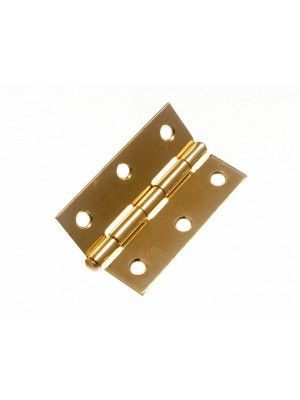 PAIR OF DOOR LOOSE PIN BUTT HINGES EB BRASS PLATED 75MM ( 3 inch )
