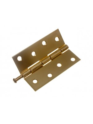 PAIR OF DOOR LOOSE PIN BUTT HINGES EB BRASS PLATED 100MM ( 4 inch )