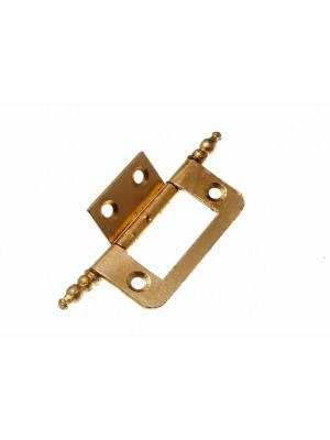 PAIR OF CABINET DOOR FLUSH HINGES + FINIALS EB BRASS PLATED STEEL 50MM