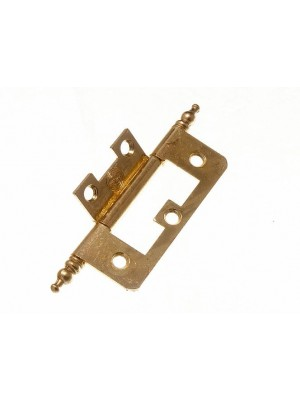 PAIR OF CABINET DOOR FLUSH HINGES + FINIALS EB BRASS PLATED STEEL 63MM