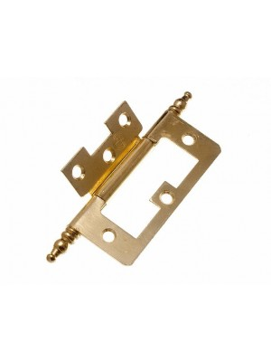 PAIR OF CABINET DOOR FLUSH HINGES + FINIALS EB BRASS PLATED STEEL 75MM
