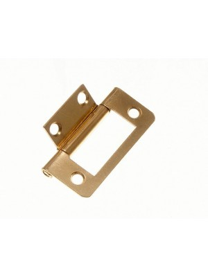 PAIR OF CABINET DOOR FLUSH HINGES EB BRASS PLATED STEEL 50MM ( 2 inch )