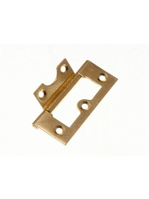 """PAIR OF CABINET DOOR FLUSH HINGES EB BRASS PLATED STEEL 63MM ( 2 1/2 """" )"""