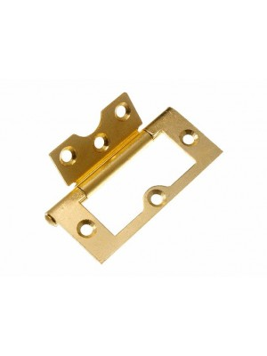PAIR OF CABINET DOOR FLUSH HINGES EB BRASS PLATED STEEL 75MM ( 3 inch )