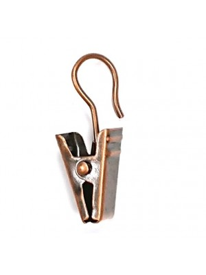 ROD RING CURTAIN DRAPE SPRUNG CLIPS & HOOK BRONZED PLATED STEEL