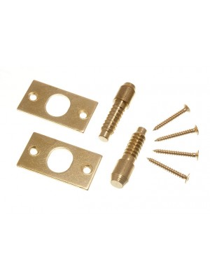 PAIR OF HINGE BOLTS SECURITY CATCH EB BRASS PLATED STEEL + SCREWS