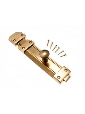 SOLID POLISHED BRASS TOWER DOOR SLIDING LATCH BOLT 200MM 8 INCH