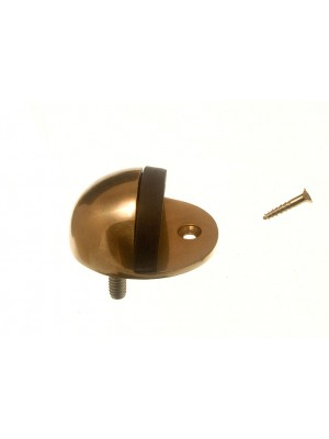 DOOR STOP SOLID POLISHED BRASS OVAL TYPE AND RUBBER PAD 50MM + SCREWS