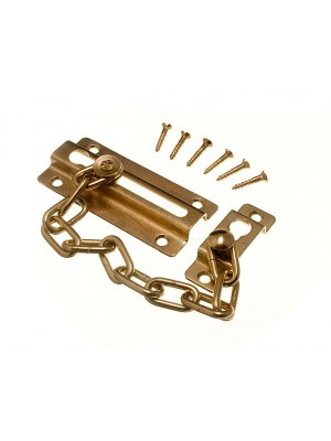 DOOR SECURITY SAFETY CHAIN EB BRASS PLATED STEEL + SCREWS