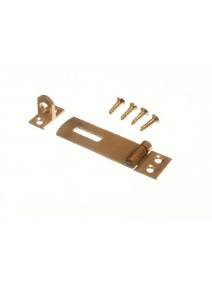 HASP & STAPLE SET CAN BE USED WITH PADLOCKS - POLSHED BRASS 50MM