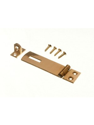 HASP & STAPLE SET CAN BE USED WITH PADLOCKS - POLSHED BRASS 63MM