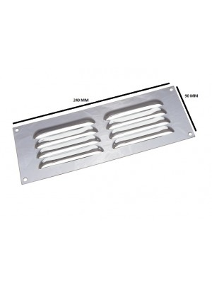 BRIGHT CHROME LOUVRED VENTILATION GRILLE COVER 9 X 3 INCH