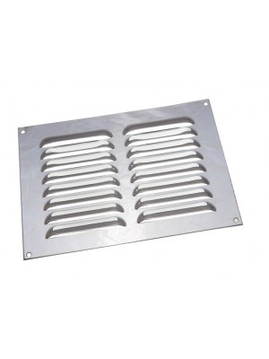 BRIGHT CHROME LOUVRED VENTILATION GRILLE COVER 9 X 6 INCH