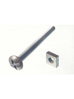 ROOFING BOLTS & SQUARE NUTS ZP ZINC PLATED M6 X 70