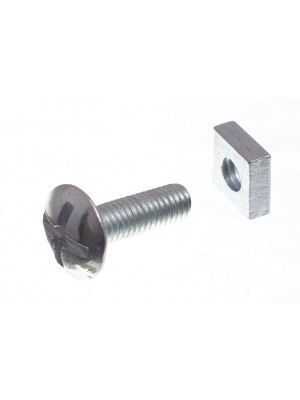 ROOFING BOLTS & SQUARE NUTS ZP ZINC PLATED M6 X 20