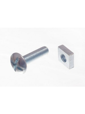ROOFING BOLTS & SQUARE NUTS ZP ZINC PLATED M6 X 25