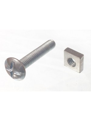 ROOFING BOLTS & SQUARE NUTS ZP ZINC PLATED M6 X 35