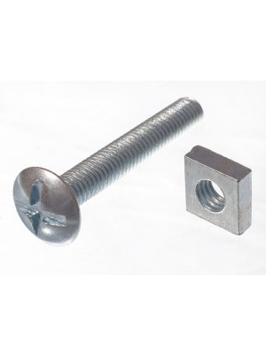 ROOFING BOLTS & SQUARE NUTS ZP ZINC PLATED M6 X 40