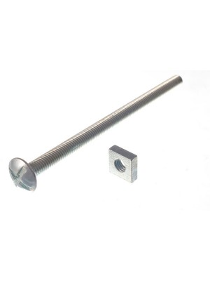 ROOFING BOLTS & SQUARE NUTS ZP ZINC PLATED M6 x 100