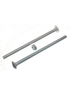 CARRIAGE / COACH BOLTS & NUTS, BZP ZINC PLATED M10 x 180