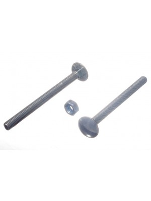 CARRIAGE / COACH BOLTS & NUTS, BZP ZINC PLATED M6 x 75