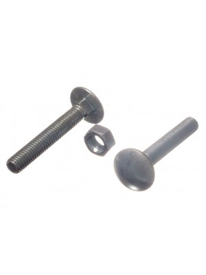 CARRIAGE / COACH BOLTS & NUTS, BZP ZINC PLATED M8 x 50