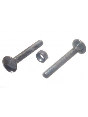 CARRIAGE / COACH BOLTS & NUTS, BZP ZINC PLATED M8 x 60