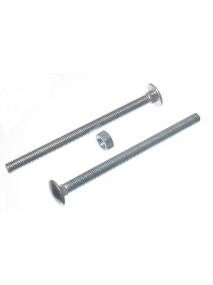 CARRIAGE / COACH BOLTS & NUTS, BZP ZINC PLATED M10 x 150