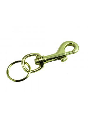 HIPSTER KEY RING 3 INCH 75MM BRASS PLATED EB STEEL HEAVY DUTY