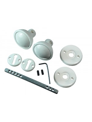 WHITE PLASTIC MORTICE DOOR KNOB SET WITH FIXINGS AND SPINDLE