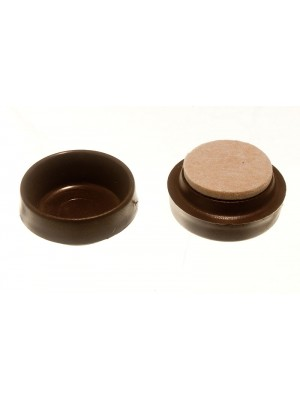 CASTOR CUPS FLOOR PROTECTOR GLIDERS SMALL BROWN WITH FELT PADS 45MM