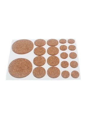 SHEET OF CORK PROTECTIVE PADS ASSORTED SIZES ( 20 PER SHEET )