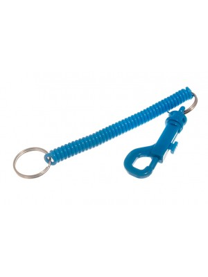 BLUE PLASTIC SPIRAL RECOILING KEY RINGS