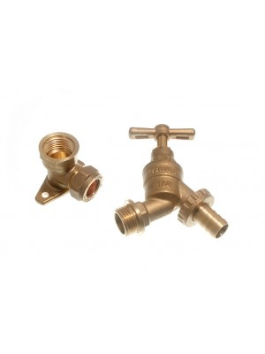 OUTDOOR BRASS HOSE UNION TAP WITH WALL ELBOW